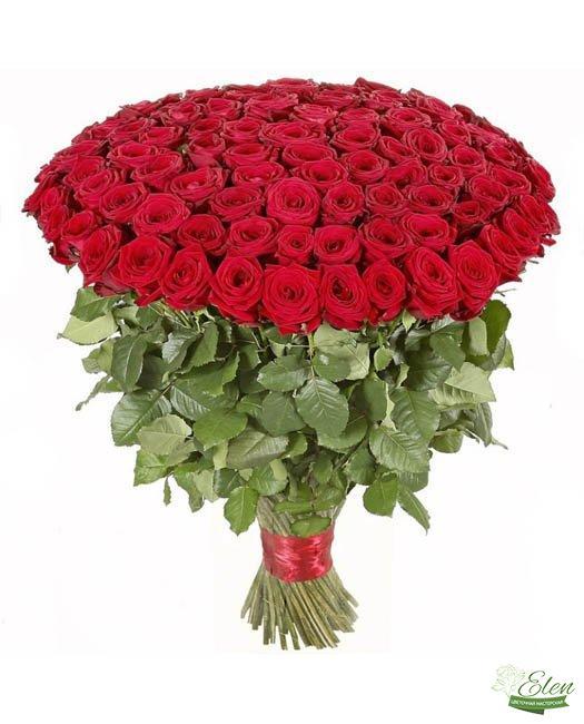Букет из 101 красной розы - Цветочная мастерская Элен, доставка цветов Киев.