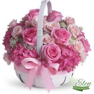 "Корзина цветов ""Розовый Блюз"""