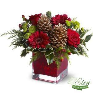 Букет Страсть из роз и гербер