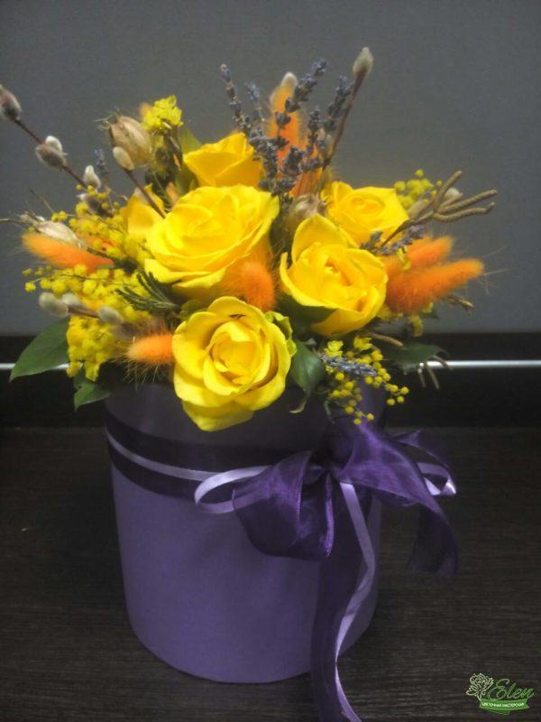 Большая шляпная коробка с цветами Солнечная