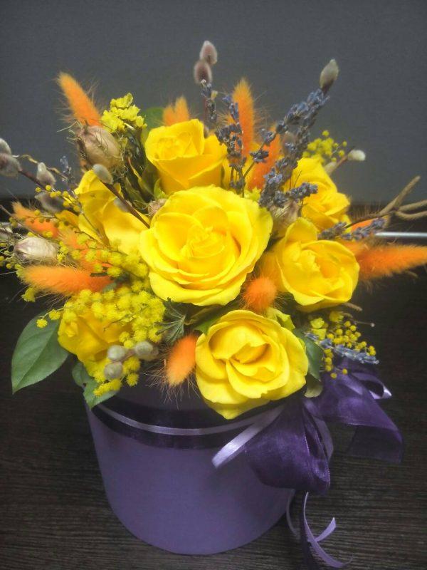 Шляпная коробка с цветами Солнечная