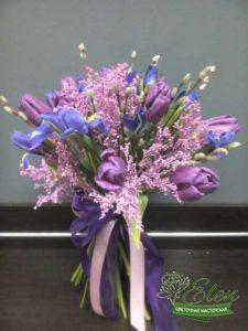 Букет цветов Лиловый Бризиз тюльпанов и ирисов -букет цветов для мужчины