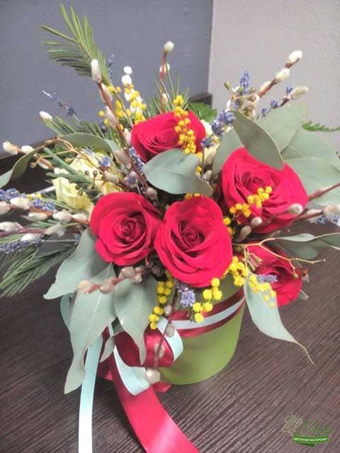 Чувства Любви Шляпная Коробка из роз