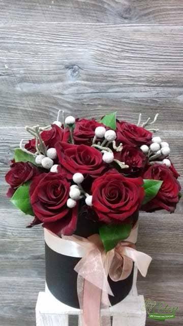 Для Нее Шляпная коробка красных роз
