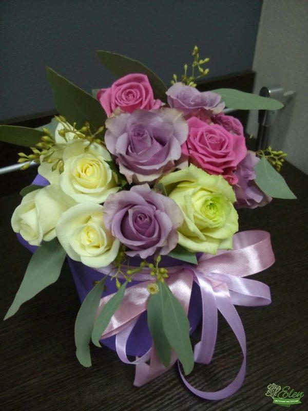 Лиловый Блюз Шляпная коробка из роз