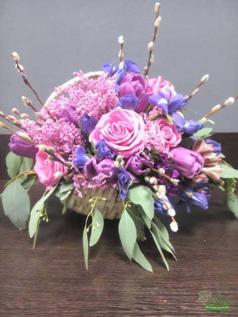 Розовое Облако Корзина цветов