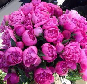 Букет из 45 розовых пионапринесет весеннее настроение на ваш праздник.