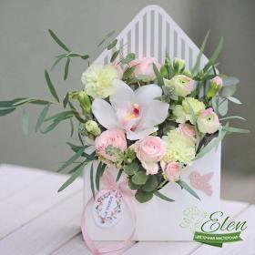 Конверт с цветами белоснежный - Цветочная мастерская Элен