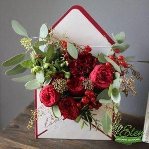 Розы в конверте - Цветочная мастерская Элен