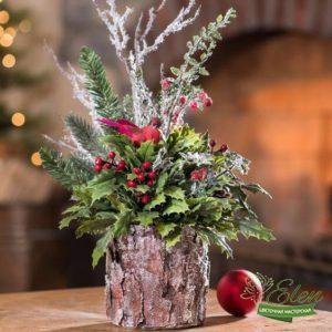 Декор новогодний с цветами - доставка цветов