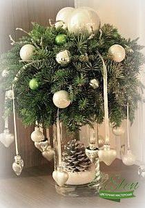 Декор в вазе новогодний