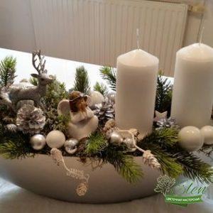 Новогоднее кашпо на стол с цветами