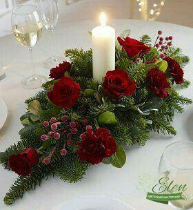 Новогодний декор на стол с цветами