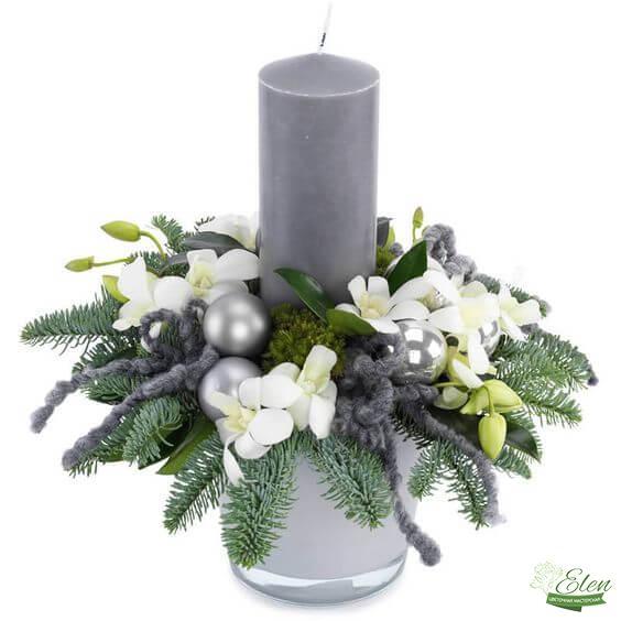 Новогодний подсвечник с цветами - доставка цветов Киев